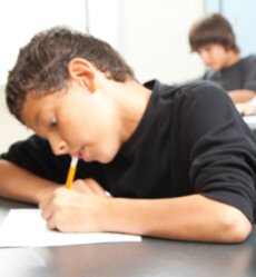 Boy Student taking a test