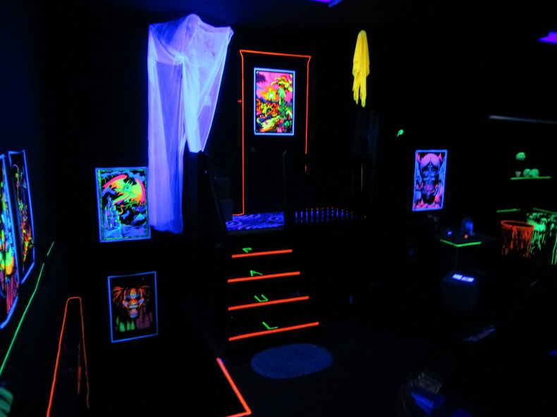 Halloween Decorations in Blacklight Gargage
