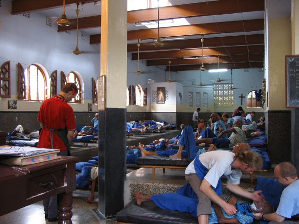 Men's ward at Mother Teresa's Home - Nirmal Hriday,(Home for the Dying), Kalighat/ Calcutta, INDIA