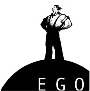 Man standing proudly on top of black sphere with the word EGO on it.