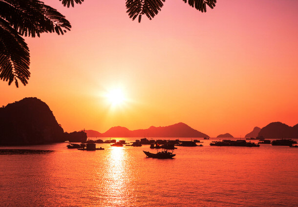 Halong Bay Vietnam sunset